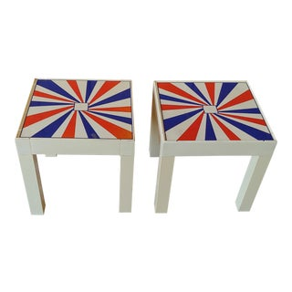 1970's Plastic British Parson's Side Tables - A Pair For Sale
