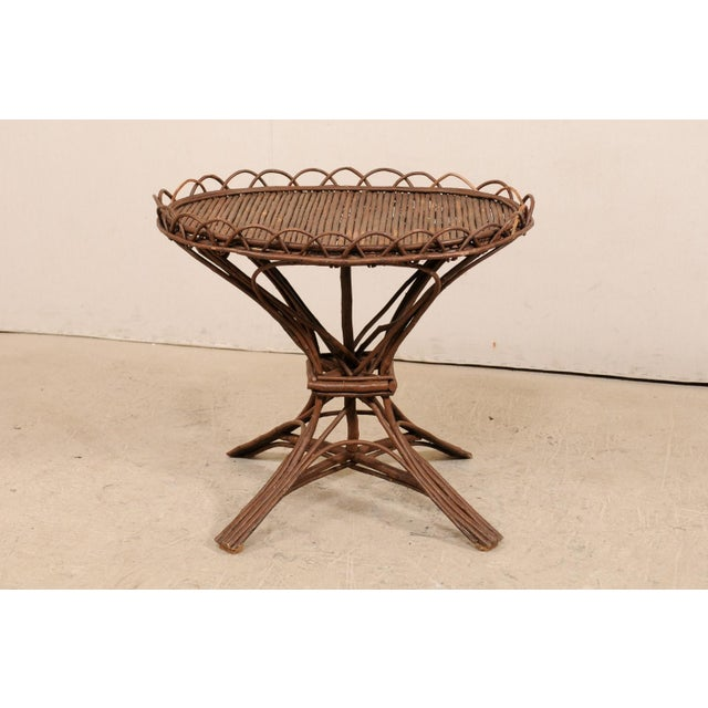 20th Century Swedish Wood Twig and Reed Oval Side Table For Sale - Image 4 of 12