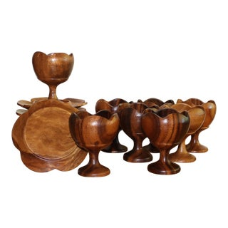 Floral Tiki Style Wooden Goblets with Saucers - Set of 14