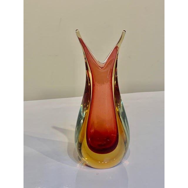 1970s Mid Century Murano Ears Sommerso Bud Vase by Flavio Poli For Sale - Image 5 of 5