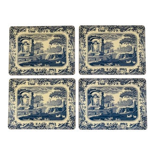 Vintage English Traditional Blue & White Tablemats - Set of 4 For Sale