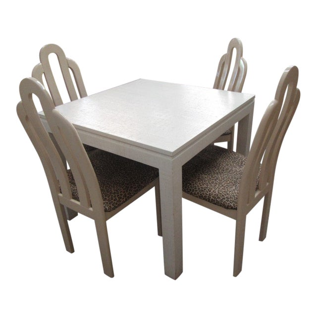 Italian Linen Wrapped Game Table Set - 5 Pieces For Sale