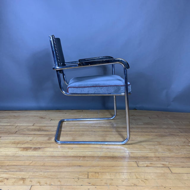 Bauhaus C1940 Tubular Chrome Cantilever Armchair, Velvet Seat For Sale - Image 3 of 9