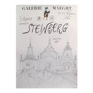 1953 Original French Steinberg Exhibition Poster, Dessins Recents (Avril - Mai)