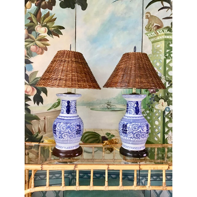 Asian Wildwood Blue and White Double Happiness Lamps - a Pair For Sale - Image 3 of 8