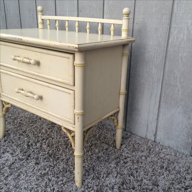 Faux Bamboo Chinoisere Two Drawer Nightstand Side Table - Image 3 of 6