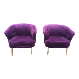 Mid-Century Style Lounge Chairs- a Pair For Sale