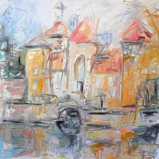 """""""Sun Shower at the Chateau"""" by Trixie Pitts Abstract Oil Painting For Sale"""