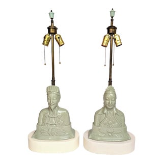 Asian Celadon Ceramic Table Lamps - A Pair