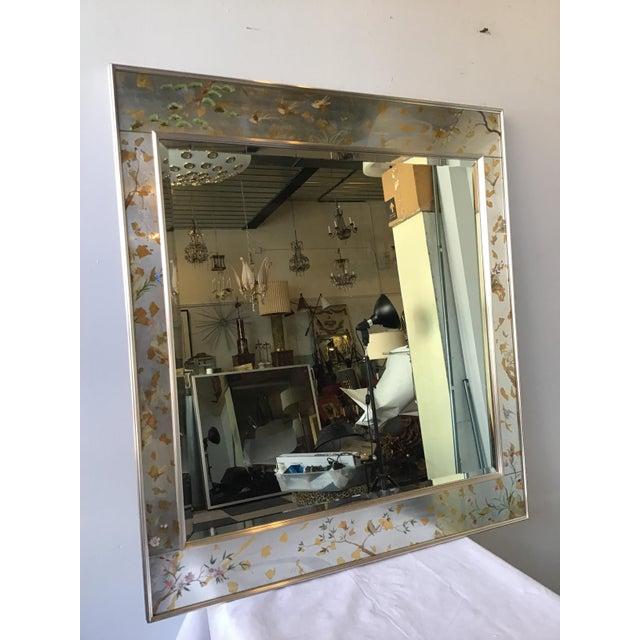 1970s La Barge floral silver leaf mirror.