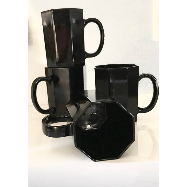 Modern 1980s Arcoroc Octime Black Octagon Dinnerware - Set of 16 For Sale - Image 3 of 9