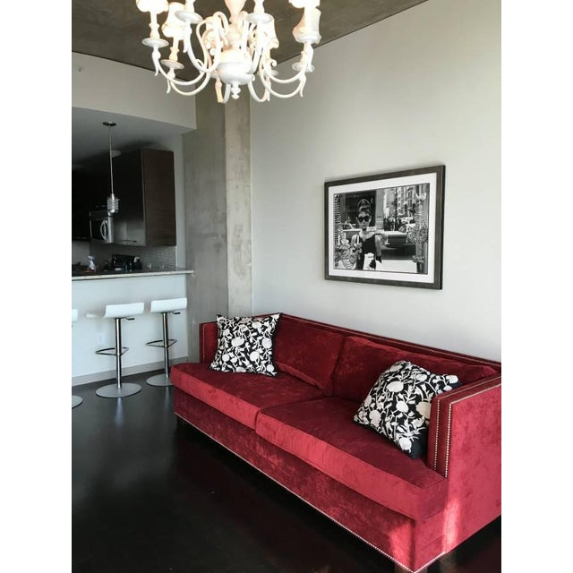"""2010s Mitchell Gold 94"""" Keaton Sofa in Eller-Crimson For Sale - Image 5 of 6"""