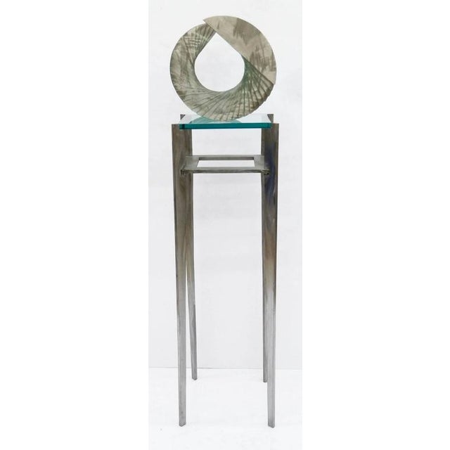 20th Century Christopher Lee Glass and Steel Sculpture on Custom Glass Pedestal For Sale In Houston - Image 6 of 6