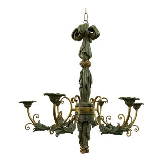 1940s Antique Italian 6 Arm Carved Wood Draped Chandelier For Sale