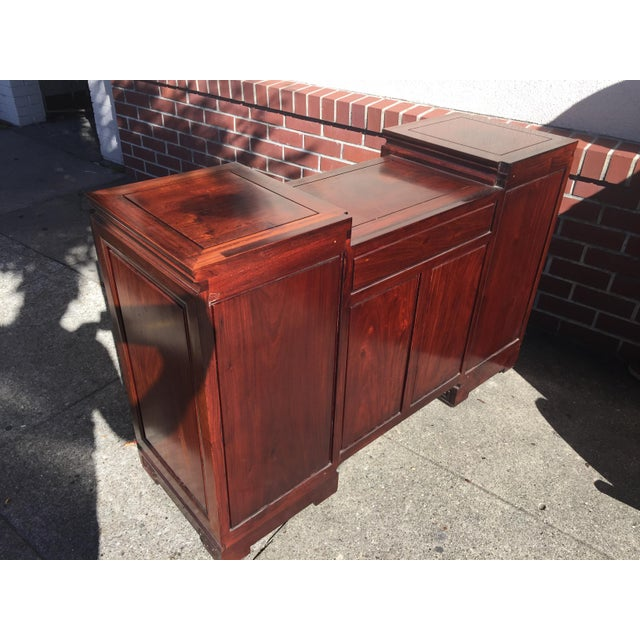 Wood Carved Chinese Rosewood Vanity Dresser with Mirror For Sale - Image 7 of 11