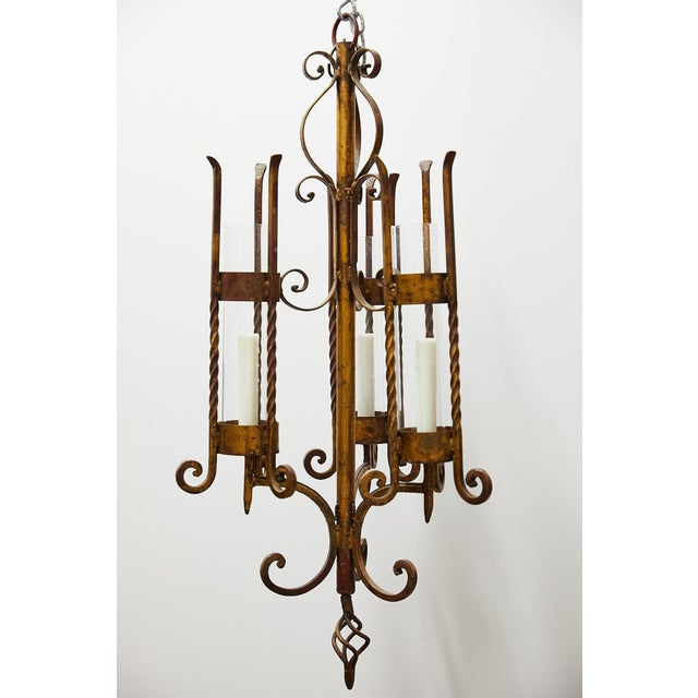French Country Italian Gilt Iron Three-Arm Chandelier For Sale - Image 3 of 13