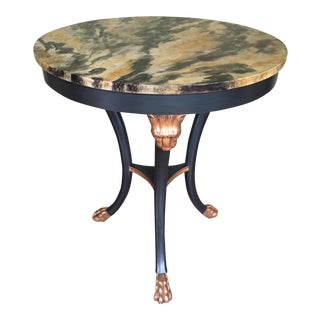 Baker Stately Homes Marble Decorated Gold Gilt Lion's Head Paw Foot Round Accent Table