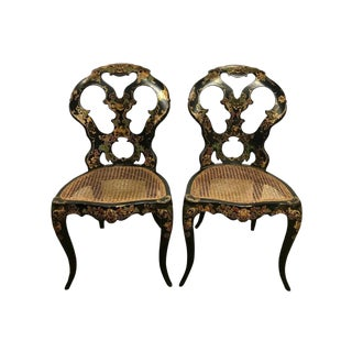 Pair of Antique Black Japanned Japan Cane, 1920s Chairs Custom Seats For Sale