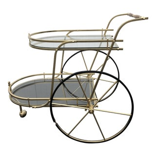 Vintage Italian Style Gold Metal and Glass Bar Cart Trolley For Sale