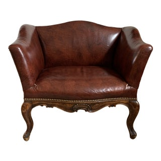 Early American Style Carved Wood Club Chair For Sale