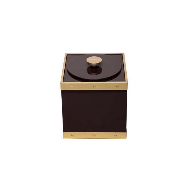 Contemporary Edge Ice Bucket in Brown / Brass - Flair Home for The Lacquer Company For Sale - Image 3 of 5