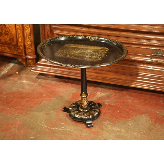 Giltwood 19th Century French Napoleon III Giltwood Base With Oval Hand Painted Tole Tray For Sale - Image 7 of 9
