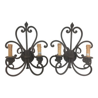 Wrought Iron Wall Sconces a Pair Mission Style For Sale