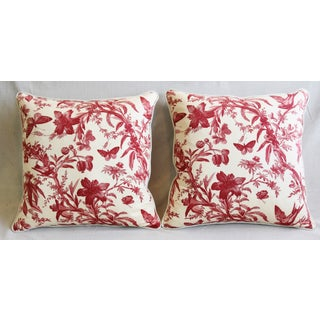 "P. Kaufmann Aviary & Floral Toile Feather/Down Pillows 23"" Square - Pair Preview"