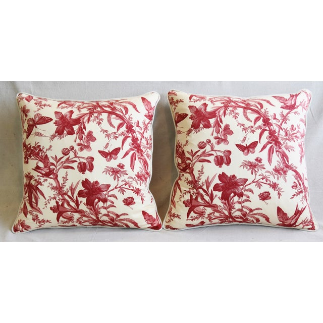 Pair of custom-tailored pillows in P. Kaufmann printed cotton fabric featuring a design of birds and butterflies on...