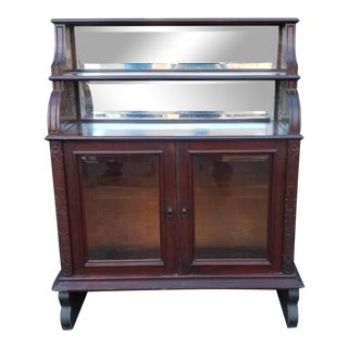 Antique Early Victorian Incised Mahogany Glass Credenza Cabinet on Stand C1860 For Sale