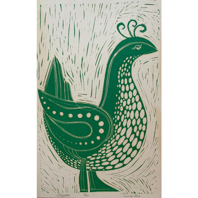 """Vintage stylized bird lithograph by Laurie Ness. Paper on board. Artist signed, titled """"Cleopatra"""" and numbered 5/100."""