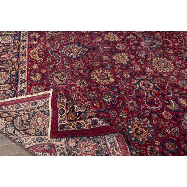"Islamic Apadana - Antique Distressed Persian Mashad Rug, 11'11"" x 15'5"" For Sale - Image 3 of 7"