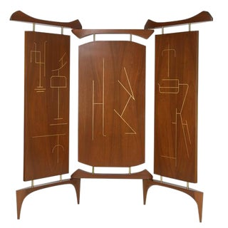 1950's VINTAGE FRANK KYLE THREE-PANEL WALNUT SCREEN For Sale