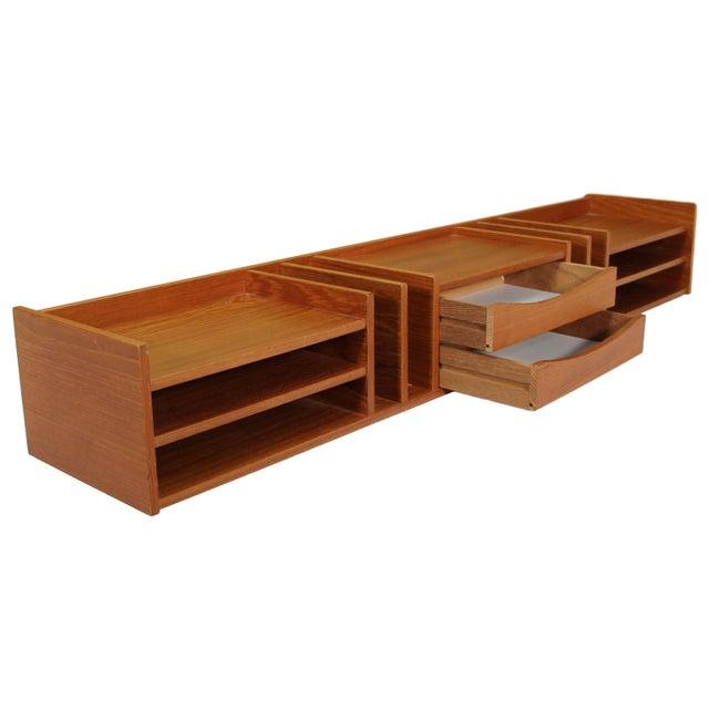 Stunning mid century modern Pedersen & Hansen Danish teak desktop organizer with 2 center drawers. Very good vintage...