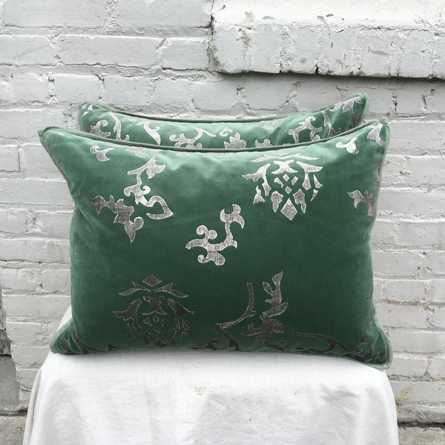 Silver Stencil Green Velvet Pillows - A Pair - Image 2 of 6