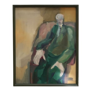 Mid-Century Figurative Oil on Canvas For Sale