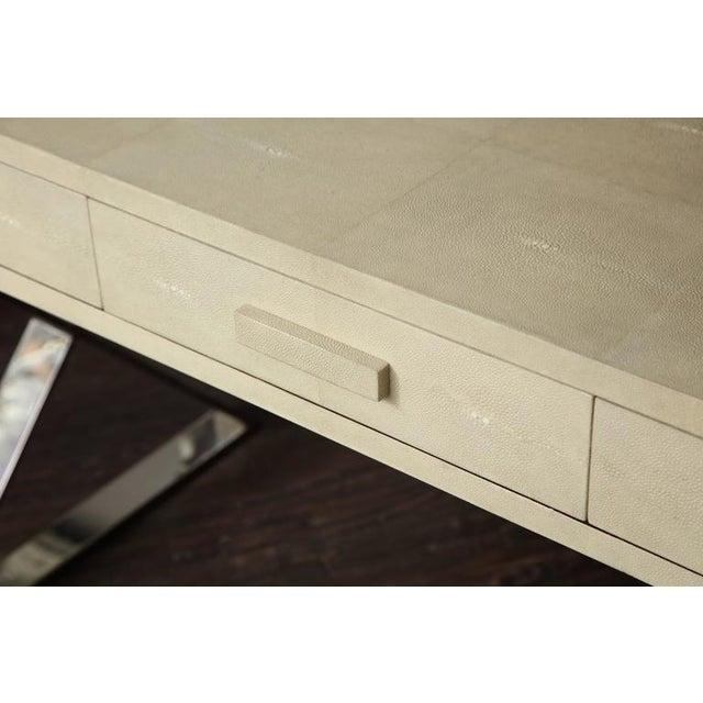Animal Skin Genuine Shagreen Desk with Polished Chrome X-Band Base For Sale - Image 7 of 10