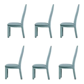 Deco Modern Aqua Blue Microfiber Upholstered High Back Dining Chairs For Sale