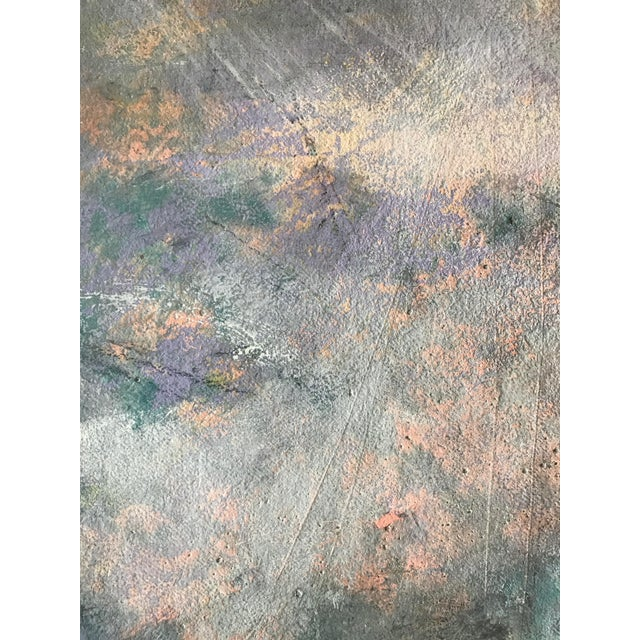"""1980s Abstract Painting With Pencil Female Bay Area Artist """"Ashland Ducks Xvii"""" For Sale - Image 4 of 7"""