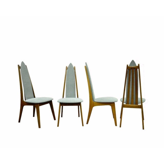 Set of 4 Vintage Mid Century Modern Sculptural Walnut Dining Chairs Danish Style For Sale - Image 11 of 11