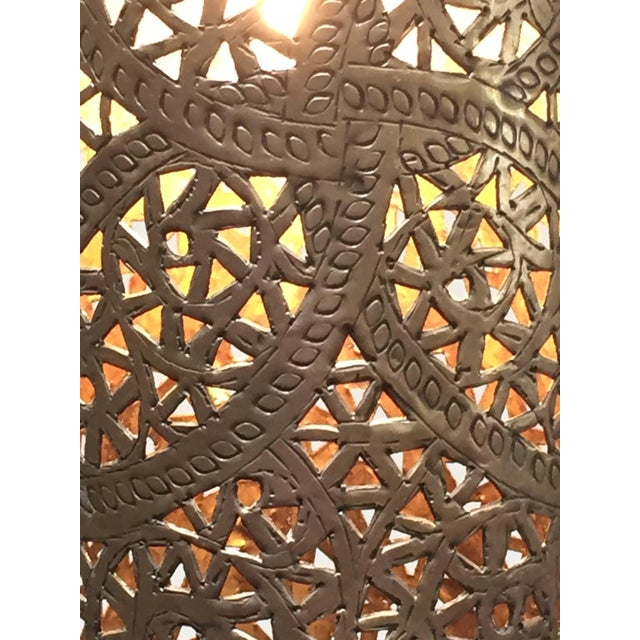 Pair of Moroccan Brass Pendants Lights with Moorish Filigree Designs For Sale - Image 12 of 13