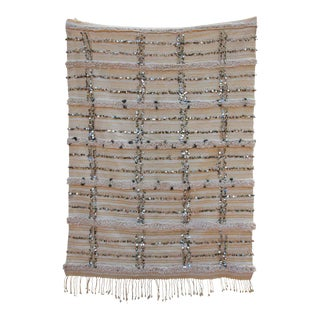 Large Vintage Handcrafted Tribal Moroccan Wedding Blanket Throw with Sequins For Sale