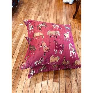 Tyler Hall Horse Burgundy Pillows - A Pair Preview
