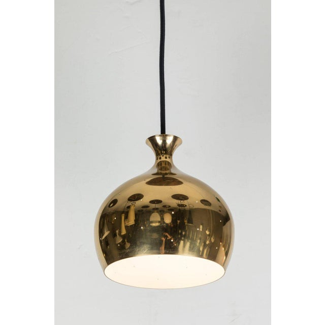 Mid-Century Modern Helge Zimdal for Falkenberg 1960s Brass Perforated 'Onion' Pendants - a Pair For Sale - Image 3 of 7