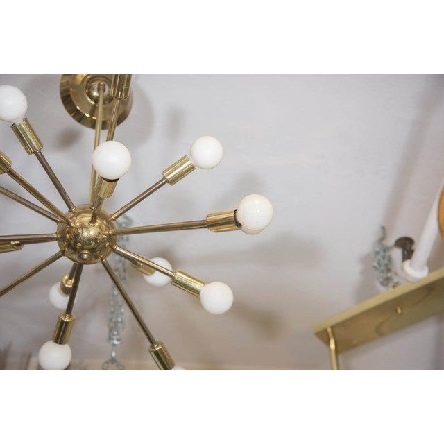 Mid-Century Modern Mid-Century Atomic Sputnik Chandelier in Brass For Sale - Image 3 of 7