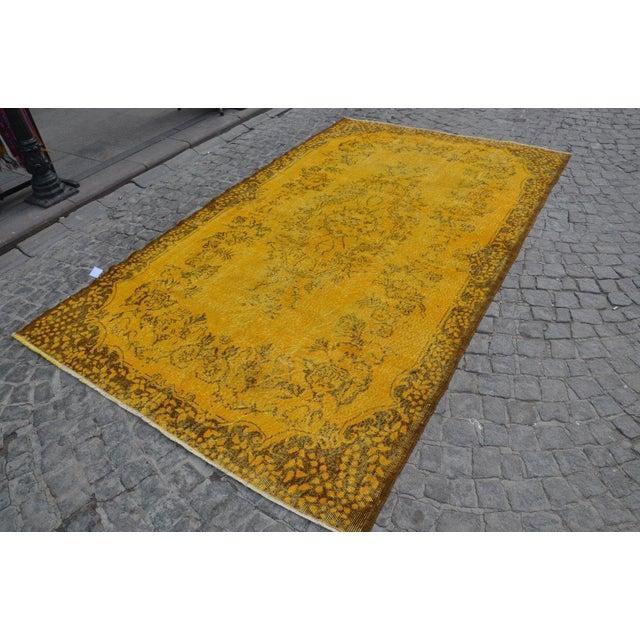 Turkish Handmade Yellow Rug - 5′8″ × 9′6″ - Image 5 of 6