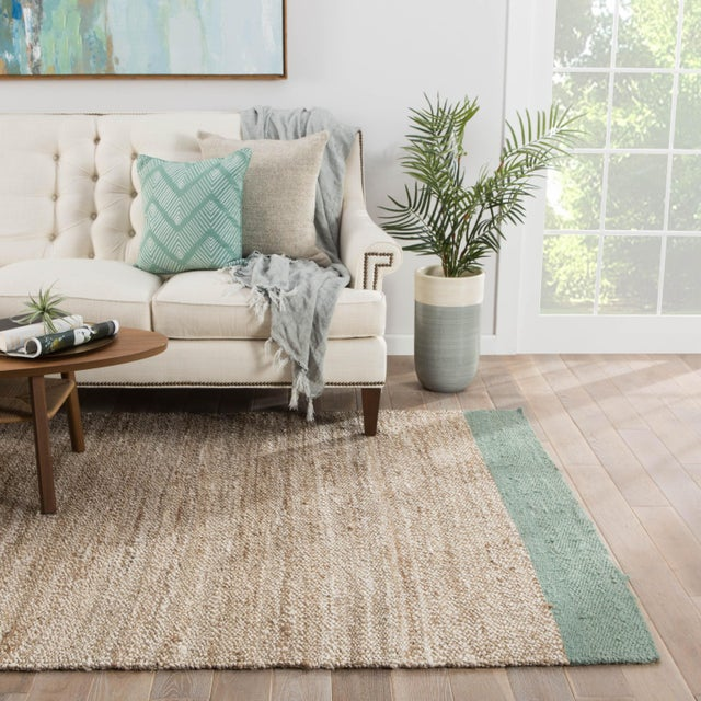 2010s Jaipur Living Mallow Natural Bordered Tan/ Blue Area Rug - 8′ × 10′ For Sale - Image 5 of 6