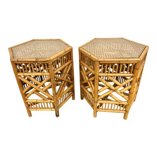 Vintage Boho Chic Bamboo Rattan Cane Hexagon Tables - a Pair For Sale