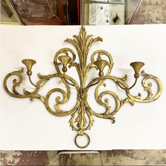 Gold 1960s Large Gilt Metal Italian 4 Arm Candle Wall Sconce For Sale - Image 8 of 8