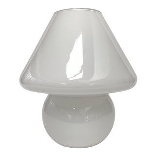 1970s Italian Modern White Glass Mushroom Lamp For Sale